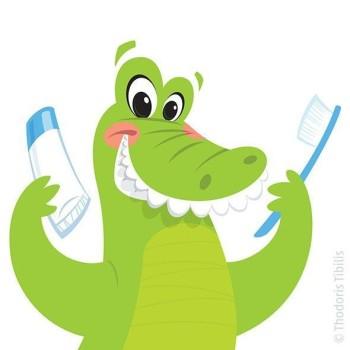 Cartoon crocodile washing its teeth