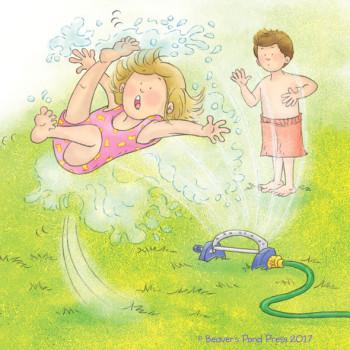 Izzy slips while running through the sprinkler.