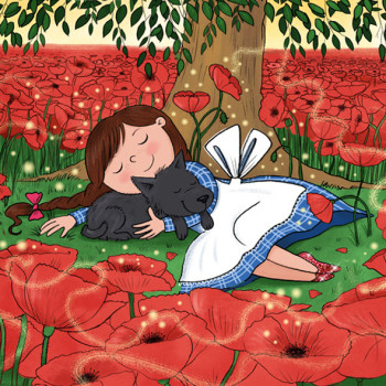 Wizard of Oz. Dorothy asleep in the poppy meadow.
