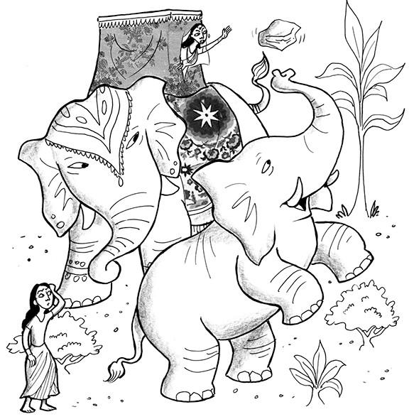 people, digital, ink, whimsical, animals