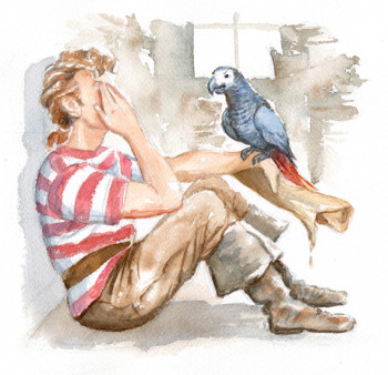 Pirate and his parrot