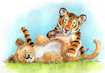 Lion and tiger cubs playing