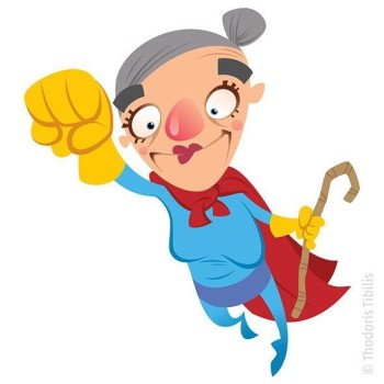 Cartoon superhero grandmother flying