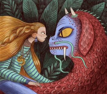 The girl and the dog dragon