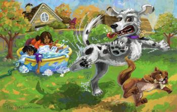 Crazy Dog Chasing Squirrel