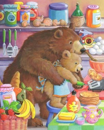 Baby bear and Mummy cooking pancakes