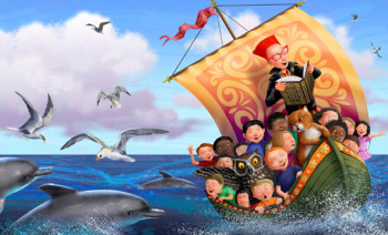 Miss Smith and her class in a boat with the Owl an