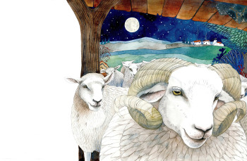 The sheep visit the manger.