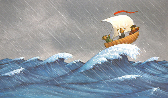 Captain Wag at sea in storm.