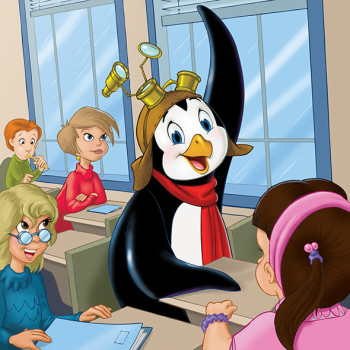 Penguin in classroom with his hand up