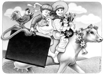 Cow & kids
