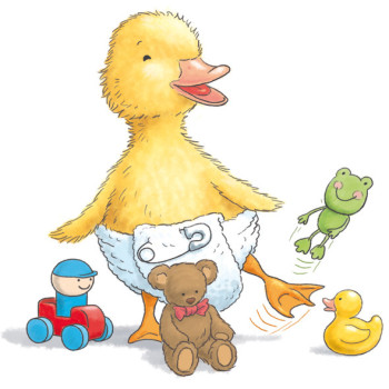 Duckling with toys