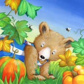 bear and a pumpkin