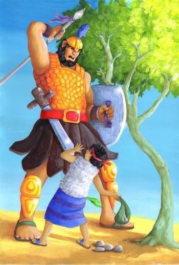David & Goliath fighting