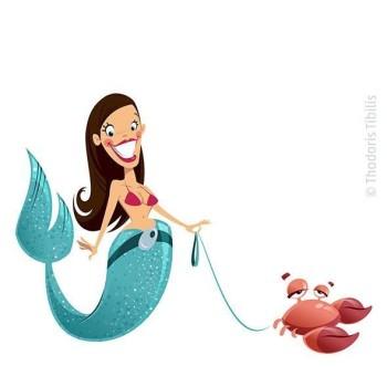 Mermaid with crab pet