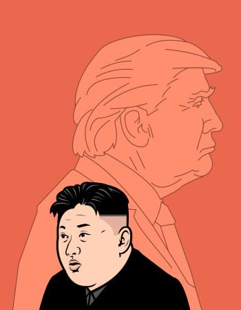 Donald Trump and Kim Jung-un portrait
