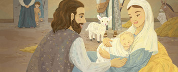 The newborn baby in a manger