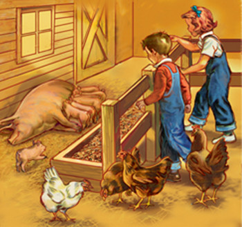 Dick abd Jane with pigs